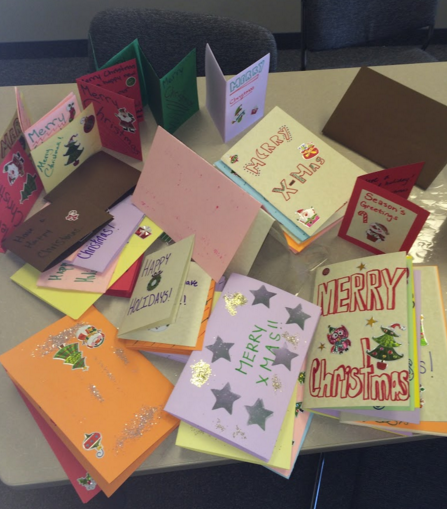 SGHS homemade Christmas cards for Youville residents